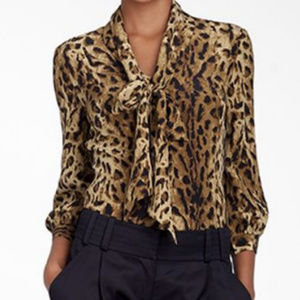 Tory Burch Pussy Bow Blouse in Leopard Size 4
